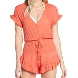 Elan coral ruffle trim cover up swim romper gauzy